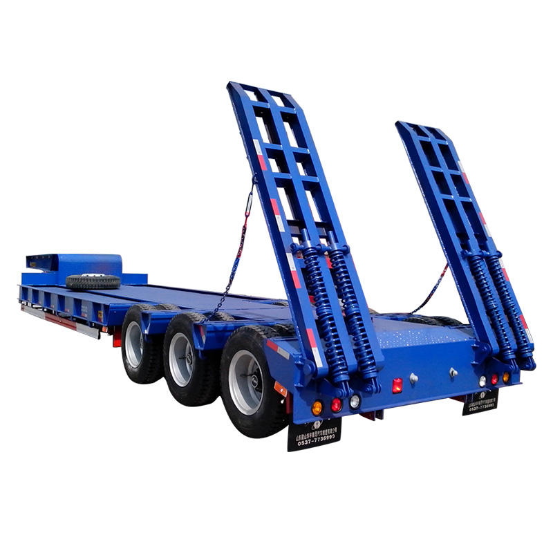 Semi low bed trailer delivery for heavy machinery