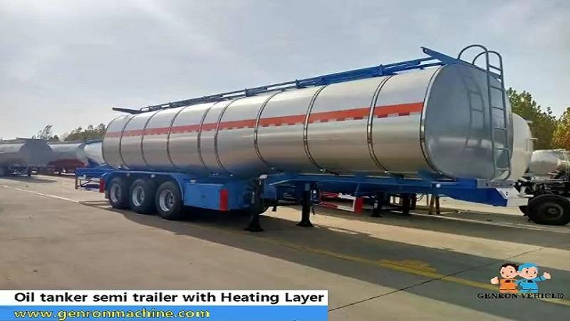Oil tanker semi trailer  with heating layer and heating piple