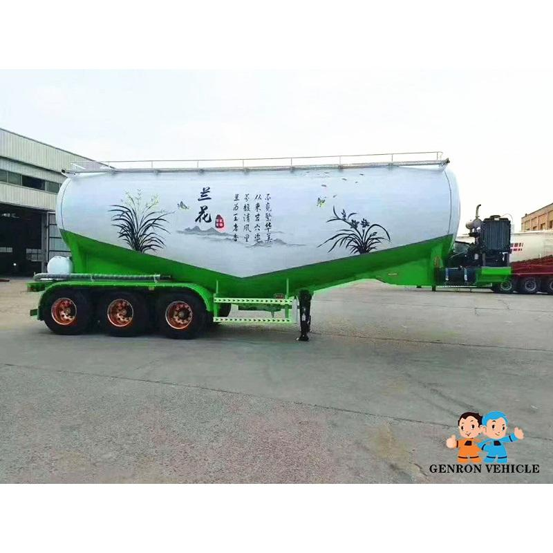 Tri Axles Carbon Steel Bulk Cement Tanker Semitrailer Dry Power Flour Bulk Silo Semi Trailer