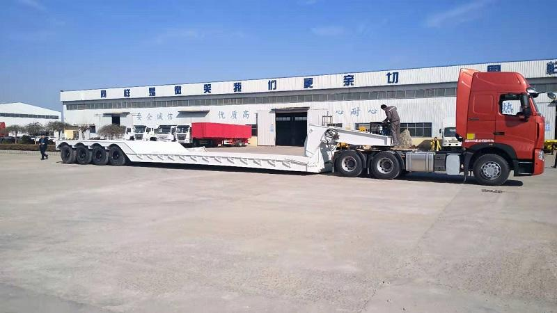 80-100tons front loading , gooseneck Detachable  high bed ,low bed semi trailer from china Genron Vehicle