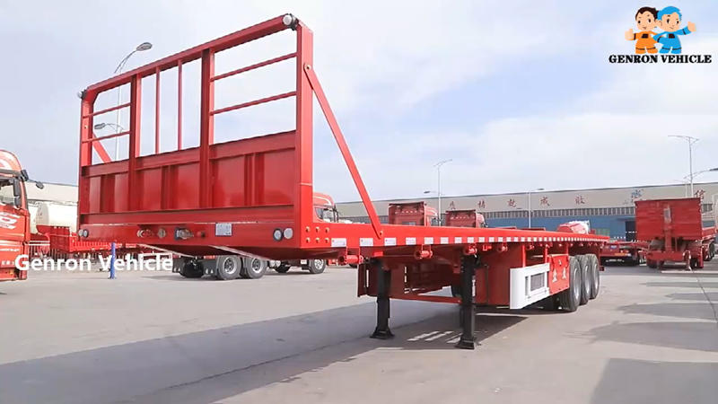 3 Axles 30-60Tons Flat bed semi trailer transport for container and cement bags