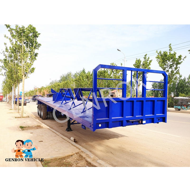 Flat Bed Semi Trailer Loading for Cement Block for Tanzania Road Construction Matched  with SCANIA Truck