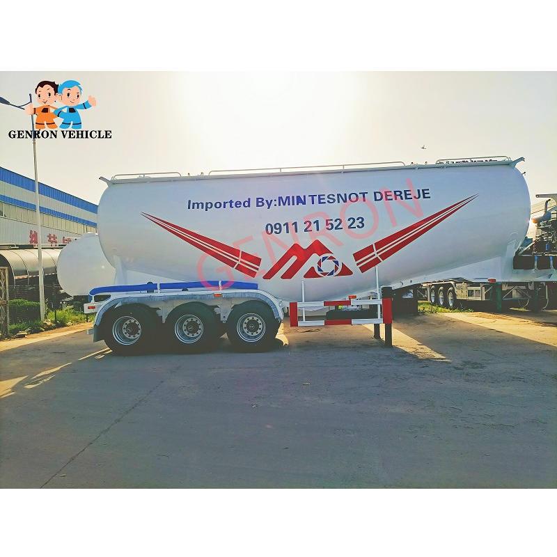 35CBM Lime Tank Powder Semi Trailer For Ethiopia