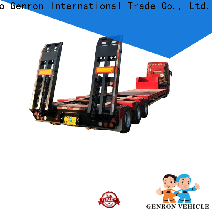 Genron latest drop bed low loader trailer factory for transport